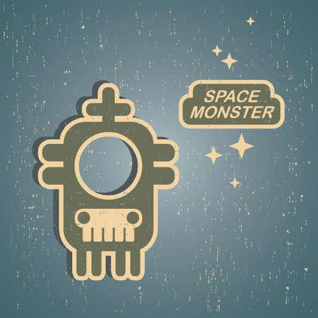 Vintage monster. Retro robot illustration Stock Vector - 15222761