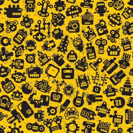 Cartoon robots faces seamless pattern on yellow.