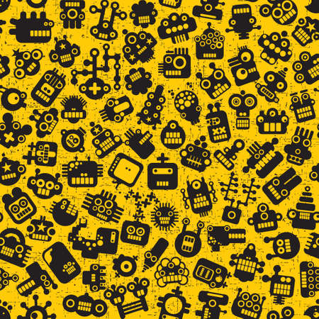 Cartoon robots faces seamless pattern on yellow.