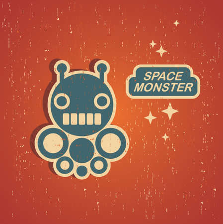 Vintage monster. Retro robot illustration . Vector