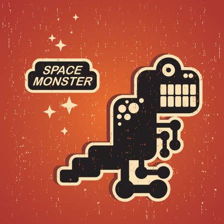 retro robot: Vintage monster. Retro robot illustration in vector.