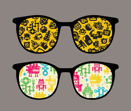Retro sunglasses with robot pattern reflection in it. Stock Vector - 15514358