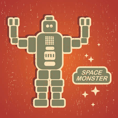 Vintage monster. Retro robot illustration Stock Vector - 15389608