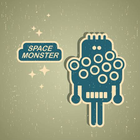 Retro monster. Vintage robot illustration  Vector