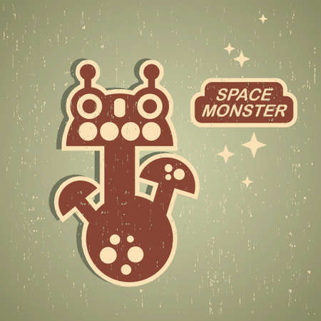 pattern monster: Retro monster. Vintage robot illustration  Illustration