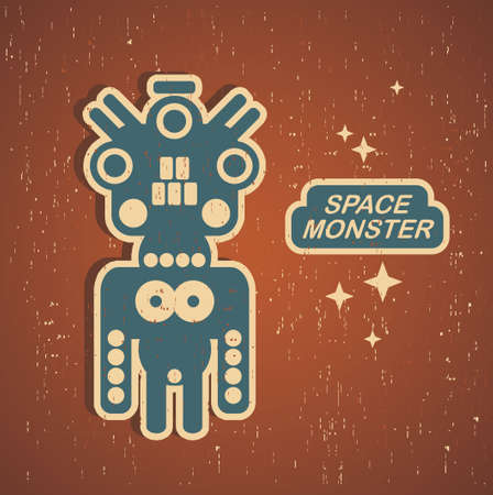 Retro monster. Vintage robot illustration. Vector