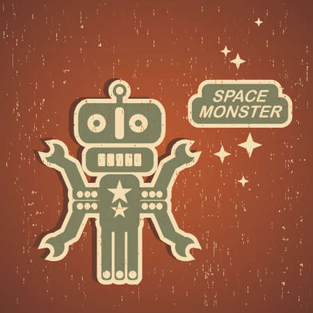 Retro monster. Vintage robot illustration . Stock Vector - 15470816