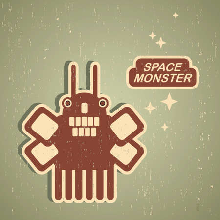 Retro monster. Vintage robot illustration . Vector