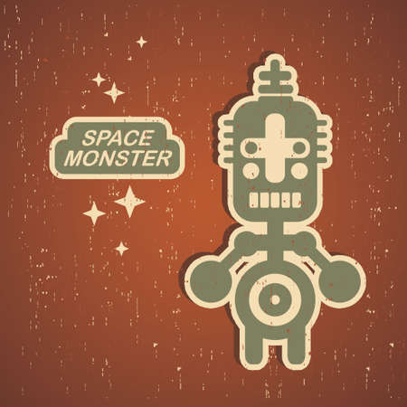Retro monster. Vintage robot illustration in vector. Stock Vector - 15540127