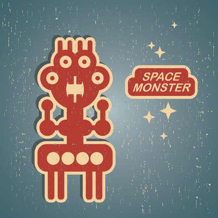 juguetes antiguos: Monstruo Retro. Ilustración robot Vintage en vector.
