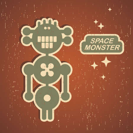 Retro monster. Vintage robot illustration in vector. Vector