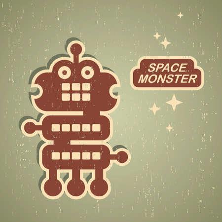 Retro monster. Vintage robot illustration Stock Vector - 15566599