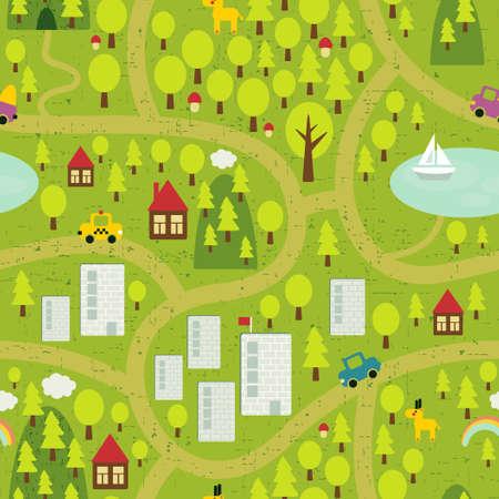 Cartoon kaart naadloze patroon van kleine stad en het platteland. Stock Illustratie