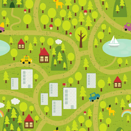 small town: Cartoon map seamless pattern of small town and countryside.