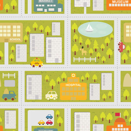 Cartoon map seamless pattern of summer city. 矢量图像