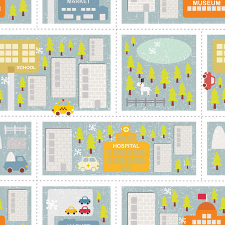 Cartoon map seamless pattern of winter city.  Vector