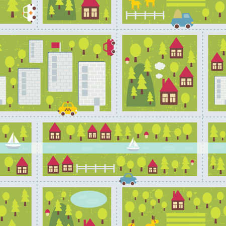 Cartoon map seamless pattern of small town and countryside.  Vector