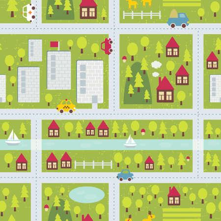 campi�a: Cartoon patr�n mapa incons�til de la peque�a ciudad y el campo. Vectores
