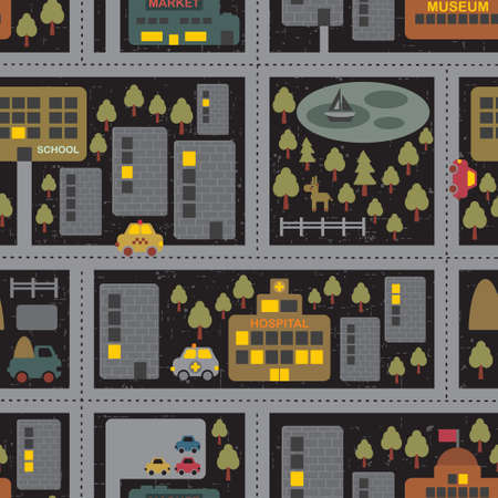 Cartoon map seamless pattern of summer city by night. Vector