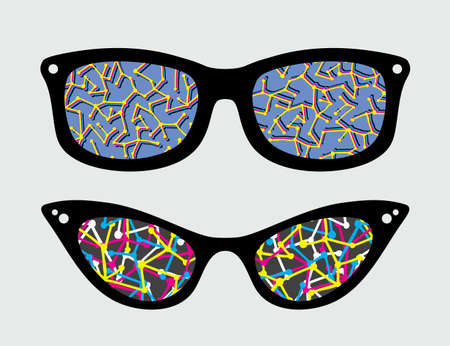 Retro eyeglasses with abstract pattern reflection in it.  Vector