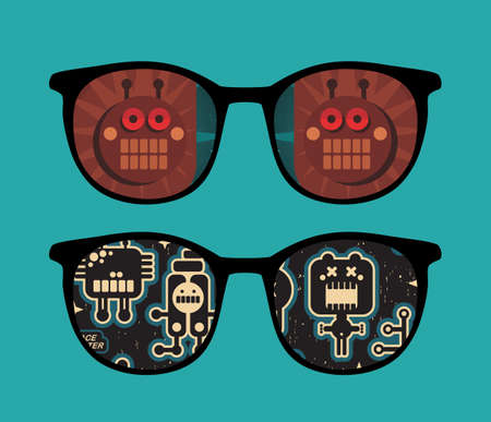 Retro sunglasses with robots reflection in it.  Vector