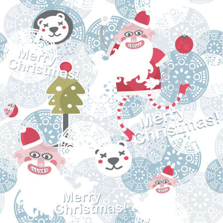 Christmas seamless background with cute Santa Claus. Vector
