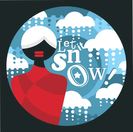 let it snow: Abstract black woman  on snowing background.