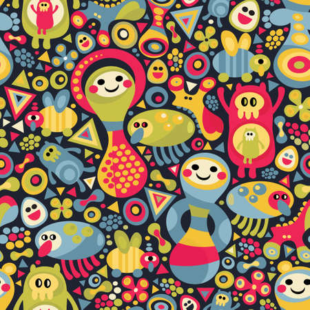 babushka: Cute monsters seamless pattern. Vector colorful background. Illustration