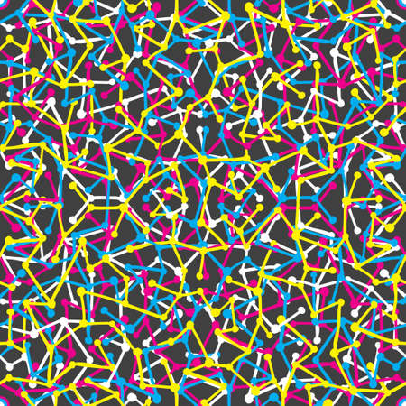 disorders: Seamless pattern with lines and dots. Vector mosaic background.