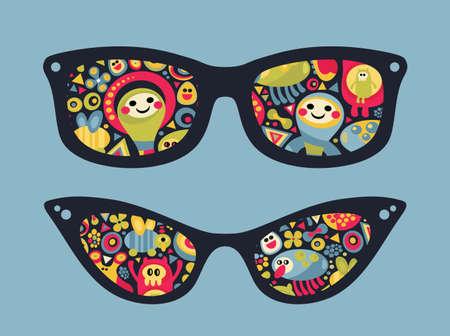 matrioshka: Retro sunglasses with funny party reflection in it. illustration of accessory - eyeglasses isolated.