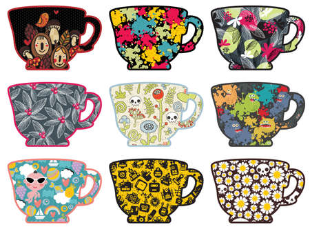 camomile tea: Set of cute tea cups with patterns. illustration. Illustration