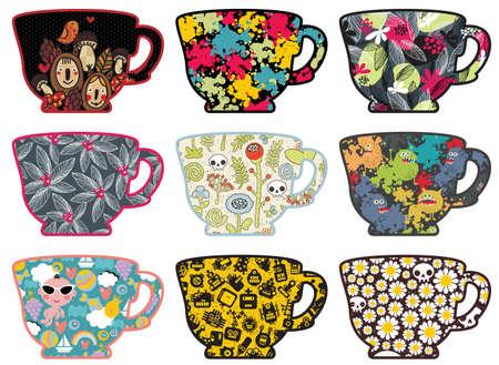 camomile tea: Set of cute tea cups with patterns. illustration. Illustration