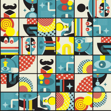 Abstract monsters pattern.  illustration in retro style. Vector