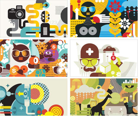 Six business card covers.  illustration. Stock Vector - 15691965