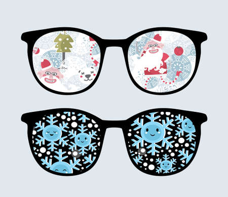 Retro sunglasses with winter reflection in it.  Vector