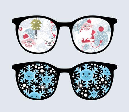 sunglasses reflection: Retro sunglasses with winter reflection in it.