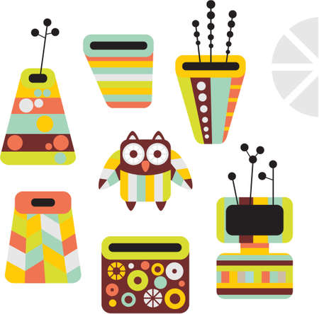 Owl and vases. Vector illustration. Vector