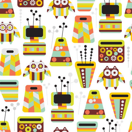 Beautiful pattern with owls and vases Stock Vector - 15834154