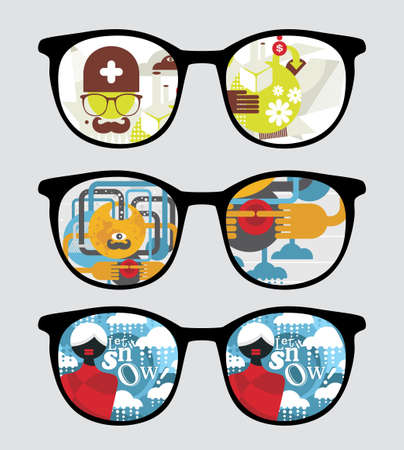 see a doctor: Retro sunglasses with abstract reflection in it.  Illustration