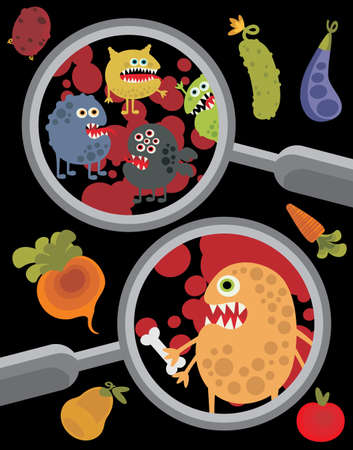 Magnifying glass and microbes in it. Stock Vector - 15858185