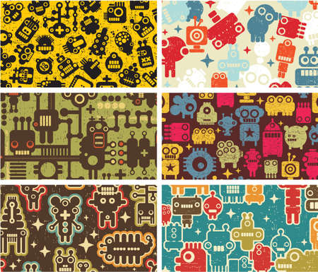 Six business card covers with robots. Vector