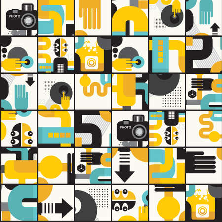 Photo man seamless pattern.  Vector