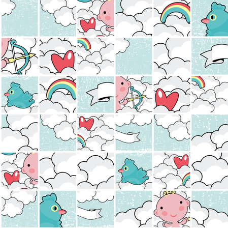 Cute cupid in the blue sky seamless puzzle pattern.  Vector