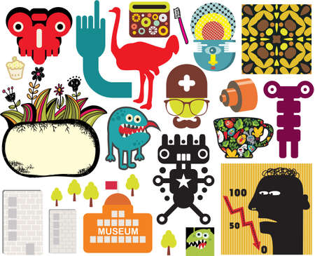 monsters house: Mix of different vector images and icons  vol 60