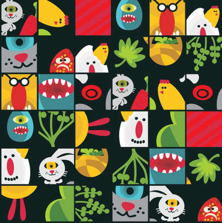 Seamless Easter background with monsters in cell  Vector pattern   Stock Vector - 20689028