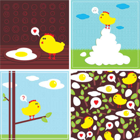 Chicken and fried eggs  Easter stories  Vector illustration and seamless pattern   Vector