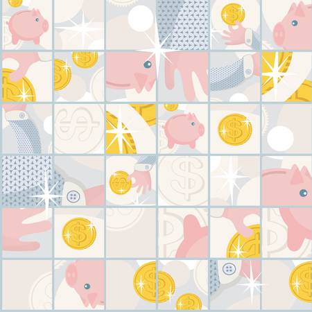 Seamless pattern with saving pigs and money. Stock Vector - 16067148
