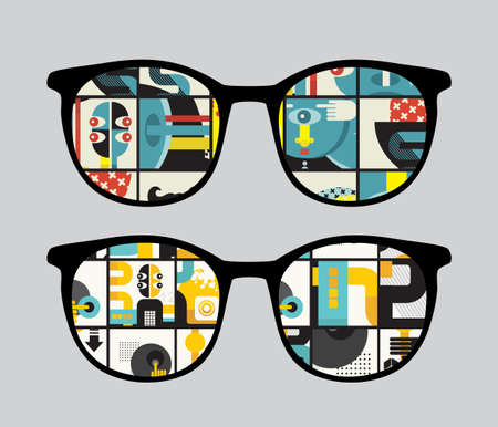 Retro sunglasses with strange  reflection in it.  Vector