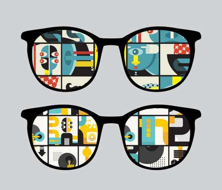 sunglasses reflection: Retro sunglasses with strange  reflection in it.