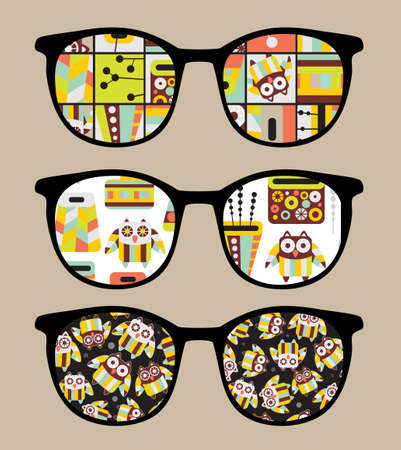 Retro sunglasses with cute owls reflection in it. Vector